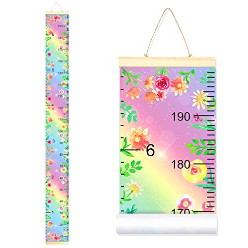 Sylfairy Growth Chart Rainbow Flower Canvas Height Chart Kids Roll-up Wall Ruler Removable Wall Hanging Measurement Chart 7.9'' x 79'' Wall Decoration with Wood Frame(Rainbow+Flower)