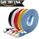 Cat 6 Ethernet Cable 10 ft (5 PACK) (At a Cat5e Price but Higher Bandwidth) Cat6 Internet Network Cable Flat - Ethernet Patch Cables Short - Computer Lan Cable With Snagless RJ45 Connectors