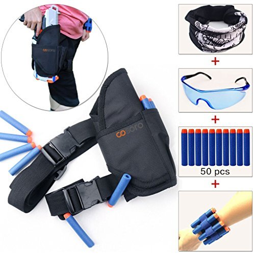 Cosoro Kids Tactical Waist Bag Holster Kit (comes with 50pcs Blue Foam Darts + Protective Goggles + Seamless Skull Face Mask + 2pcs Refill Darts Wrist Belt) for Nerf Toy Gun N-strike Elite Series