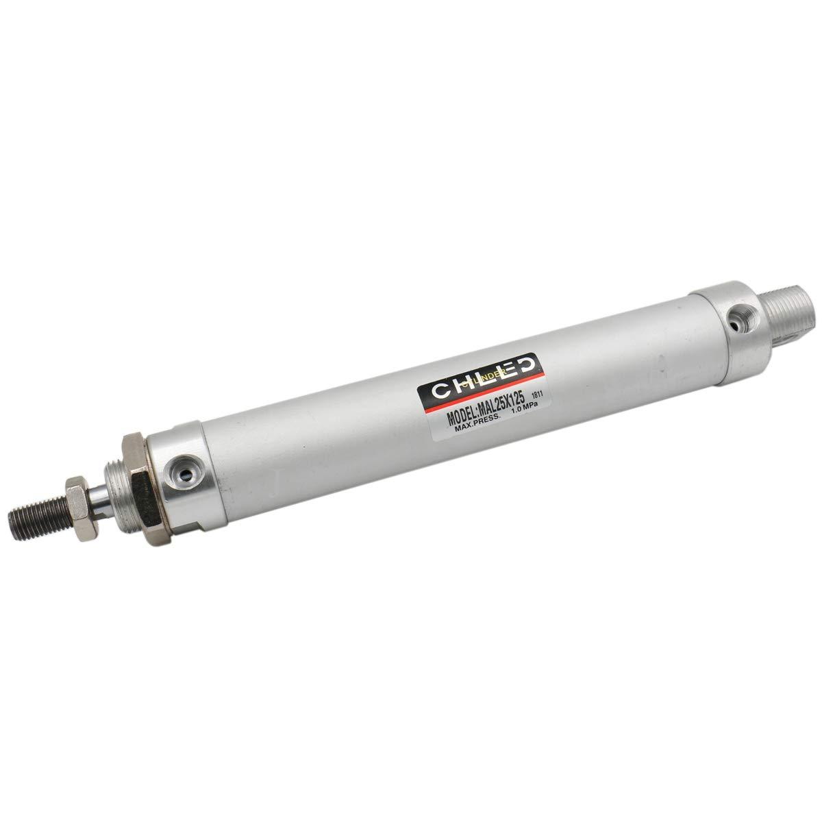 Baomain Mini Air Cylinder MAL 16 X 125 Single Male Thread Rod Dual Action 16 Bore 125 Stroke
