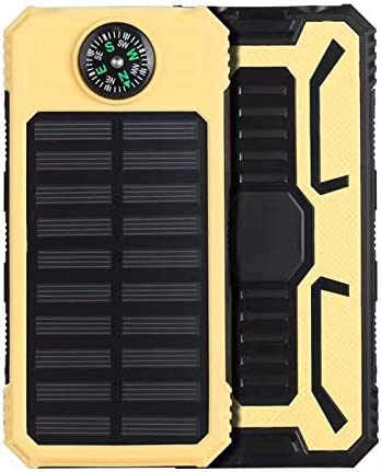 SZCHENGCI Solar Charger Dual USB Portable Phone Charger External Battery 10000mAh Power Bank With Compass /& 2 Flashlights For Camping Adventure Black