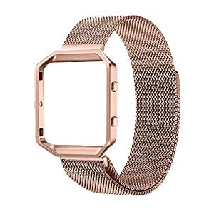 Fitbit Blaze Smart Fitness Watch Band, Noubco Rugged Metal Frame Housing with Magnet Lock Milanese Loop Stainless Steel Bracelet Strap Band - Large - Rose Gold