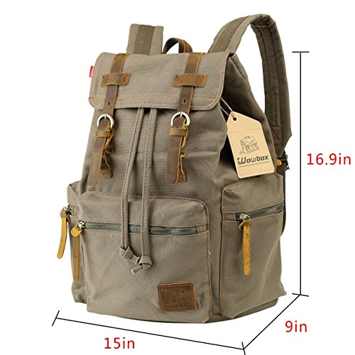 Wowbox 15.6 Inch Laptop Canvas Backpack Unisex Vintage Leather Casual  Rucksack School College Bags Satchel Bookbag a29dcc00ada33