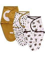 SaponinTree Baby Swaddle Wrap Filt för nyfödda och spädbarn, 3-pack 100 % andningsbar bomull justerbar linda filtar för baby unisex 0-6 månader
