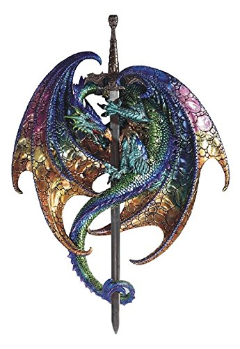 George S. Chen Corp Green and Purple Dragon with Sword Medieval Fantasy Wall Plaque Decoration New