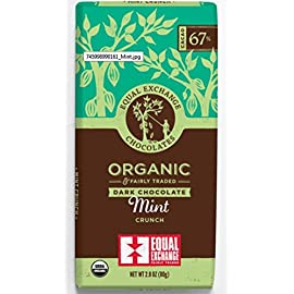 Equal Exchange Organic Extra Dark Chocolate Mint 2.8 oz 46 The crunchy mint chocolate experience you've been waiting for - an ideal balance of rich, dark chocolate and light, refreshing mint. You'll love the delica