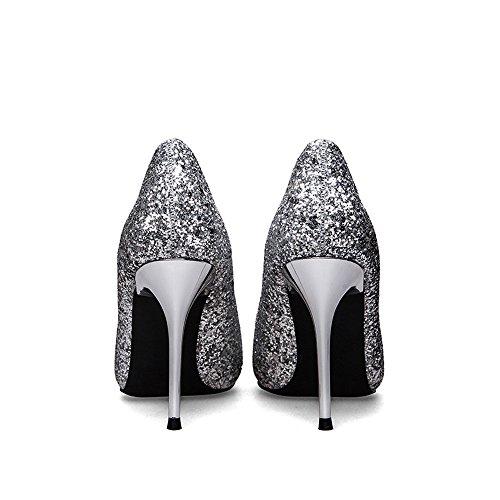 Plata Sexy Novia Zapatos Profunda Calzado De Tacones Boca Dama Sandalias Bombas Tacón Alto Poco Lentejuelas Nupcial Aguja Puntiagudo Boda Rhinestone Honor wIfg1RqgFn