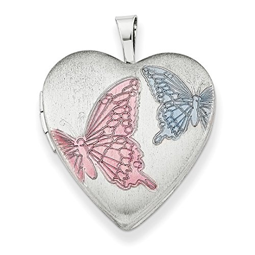 (925 Sterling Silver 20mm Enameled Butterflies Heart Photo Pendant Charm Locket Chain Necklace That Holds Pictures W/chain Fine Jewelry Gifts For Women For Her)
