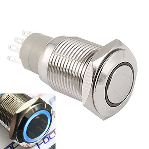 WerFamily Angel Eye Blue LED 16mm 12V Stainless Steel Round Metal Push Button Switch Self-locking - Blue Round C1