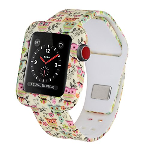 Cumeou Compatible Apple Watch Band 38mm 42mm Case, Shock-Proof Shatter-Resistant Protective Case Silicone Sport Band Compatible Apple Watch Series 3 2 1 Men Women Girls Boys