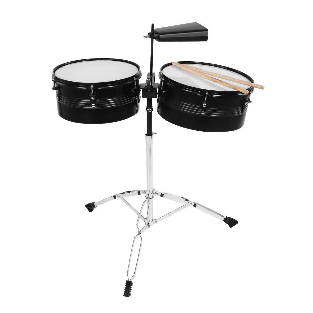 Timbales,Stainless Steel Percussion Instrument Timbale Drum Set with Cowbell,Drum Stick,Tripod,Support Frame. by Fafeims