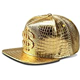 LEEYA NYU14 The New Crocodile Baseball caps alloy Dollar Flat-brimmed hat Hip-hop hat (Gold)