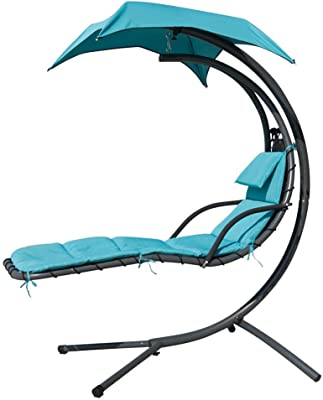 """V-Top-Shop Hanging Hammock Chair with Canopy - Powder-Coated Steel & Textoline Polyester - V384 - Mint Green - 79"""" L x 39.5"""" W x 79"""" H - Capacity 275 lbs"""
