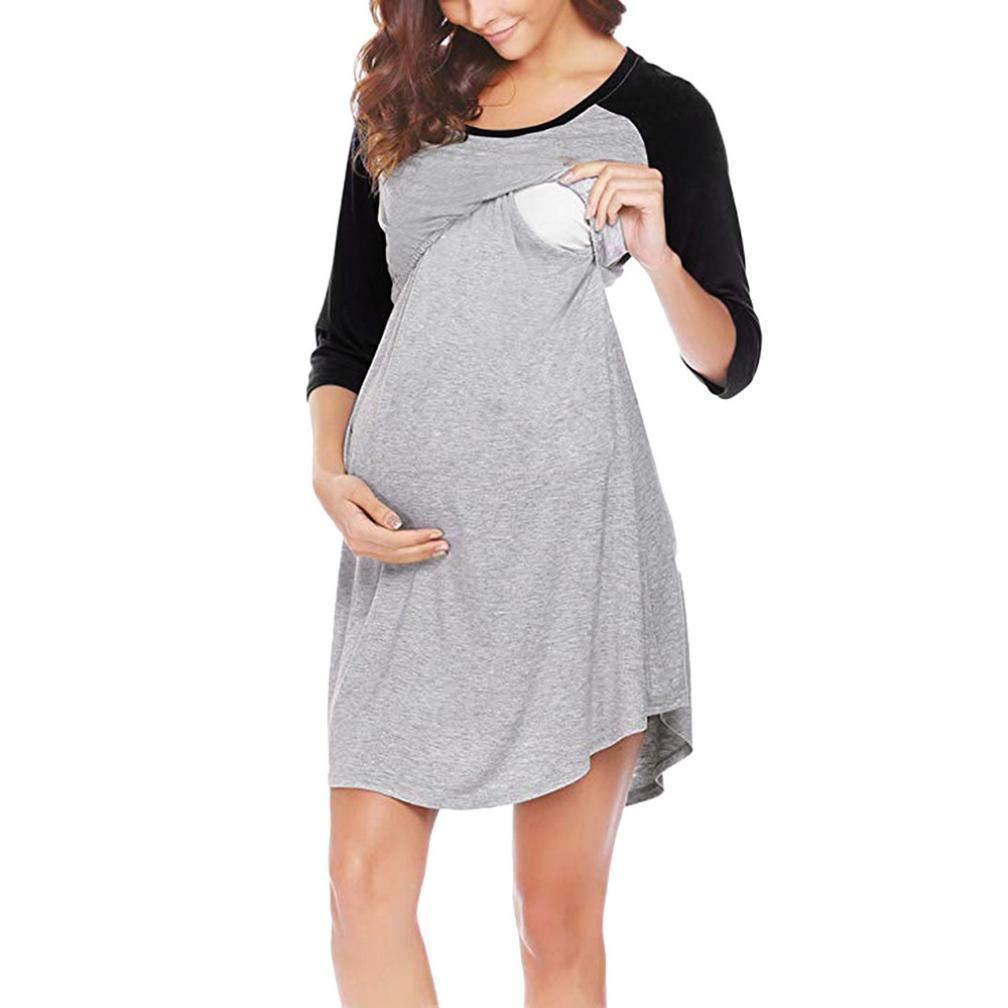 Franterd Women's Maternity Dress Nursing Nightgown Breastfeeding Nightshirt Sleepwear Mama Baby Shower Long Shirt S-XL