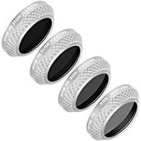 Neewer 4 Pieces Filters Kit for DJI Mavic Pro Drone Quadcopter Includes ND4, ND8, ND16 and ND32 Filter with Multi Coated Waterproof Optical Glass Aluminum Alloy Frame (MC-16) (Silver)