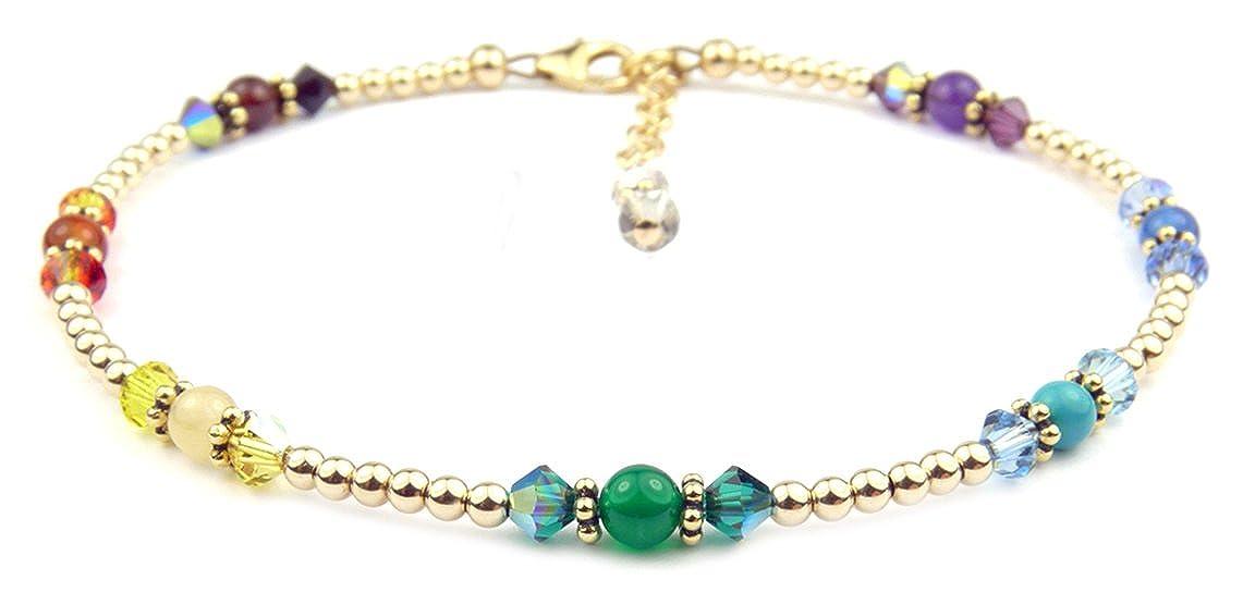 DAMALI Chakra Anklet Gold Filled Gemstone Balancing Healing Crystals GemstoneGifts Handmade Jewelry FANK-GF-31-CHAKRA-L