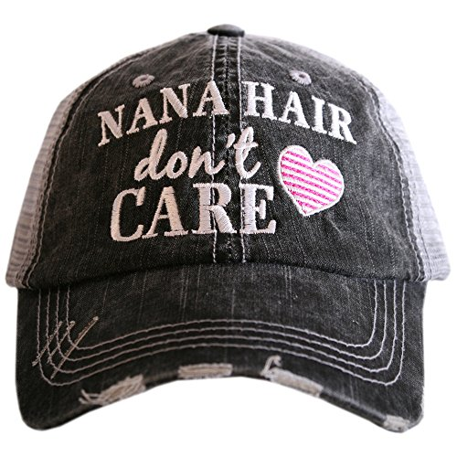 Katydid Nana Hair Don't Care Women's Trucker Hats Caps Pink