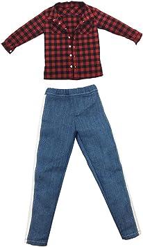 Amazon.es: Desconocido Generic 1/6 Escala Camisa a Cuadros Roja y Pantalones Vaqueros para Cuerpo de Figura de Acción de 12