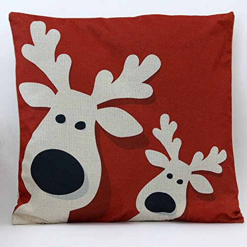 Petite Lili Cushion Cover with Christmas Design Decorative Pillowcase-Bed/Kids/Sofa 18 x 18 inch,(Red Deer) (Reindeer Cushion)