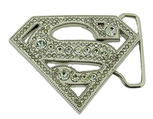 - Superman S Logo Silver Rhinnestone Die Cut Superhero Dc Comic Belt Buckle .