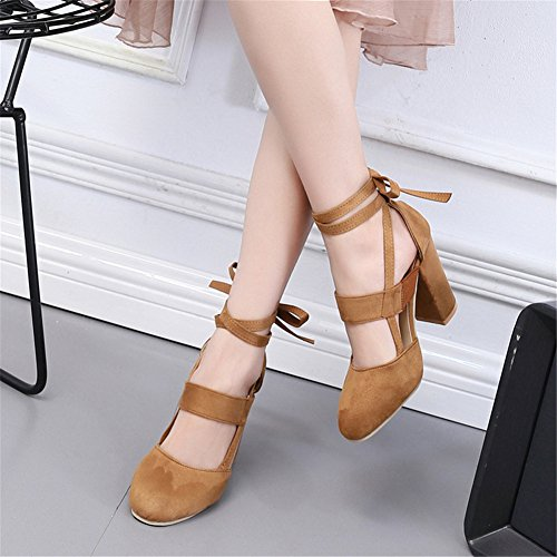 High Heel Office juqilu Lace Ankle Party up Shoes Block Comfortable Round Women Formal For Tie Sandals Toe Yellow Wedding Mid Work Heel Wrap EqUwgS4q