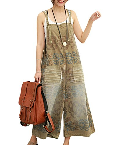 - YESNO PE5 Women Loose Cropped Pants Overalls Rompers 100% Cotton Casual Floral Printed Distressed Boyfriend Wide Leg/Pockets, Pe5 Coffee, X-Large