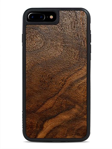 Walnut Burl - iPhone 8 Plus - Black Traveler Protective Wood Case by Carved, Unique Real Wooden Phone Cover (Rubber Bumper, Fits Apple iPhone 8 Plus)