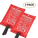 Fire Blanket Fiberglass Fire Emergency Blanket Suppression Blanket Flame Retardant Blanket Emergency Survival Safety Cover for Kitchen,Fireplace,Car,Office,Warehouse, 2 Pack (39.3x 39.3 inch)