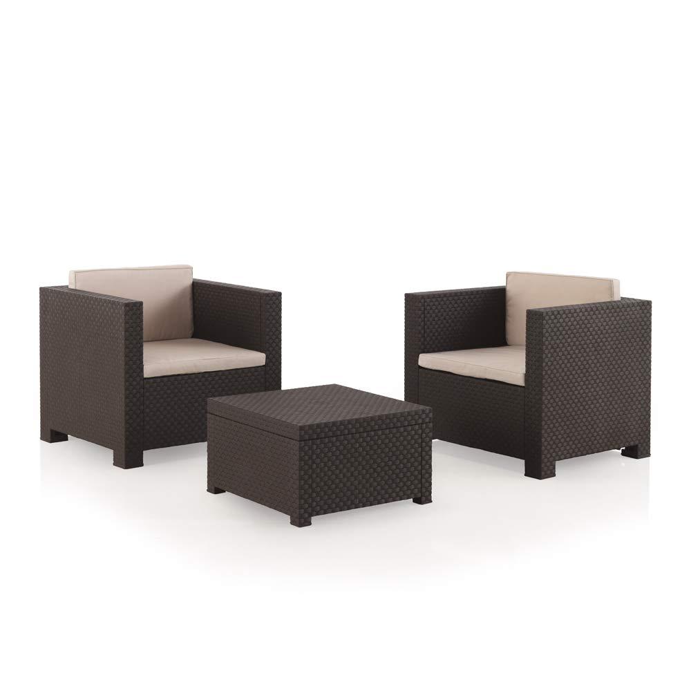 Conjunto muebles 2 plazas Jardín / Terraza, color chocolate - Shaf Diva