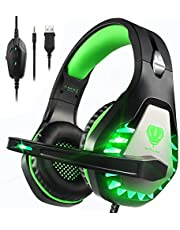 Pacrate PS4 Gaming Headset for PS5 Xbox One PC with Noise Cancelling Mic Stereo Surround Sound Gaming Headphones Soft Memory,3.5mm Over Ear PS4 Headset with LED Light for Mac Laptop