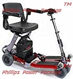 Free Rider USA - Luggie Standard - Compact Lightweight Foldable Scooter - 4-Wheel - Red - PHILLIPS POWER PACKAGE TM - TO $500 VALUE