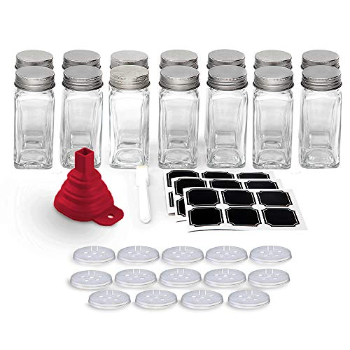 Set of 14 - Square Glass Spice Jars with Shaker Tops and Funnel, Chalkboard Labels & Pen, and Airtight Silver Metal Lids, 4 fl oz Capacity, By California Home Goods ()