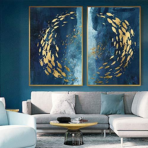 VAWAA 2 Piezas de Peces Dorados Abstractos Pintura de Lienzo Chino Cartel Azul Grande Impresion de Arte de Pared Sala de Estar Pasillo Cuadro de Cuadros de Oro 70x105 cm Sin Marco
