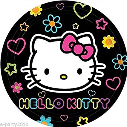 Amazon Com Hello Kitty Neon Tween Small Plates 8 Birthday Party