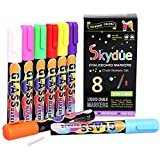 Skydue Liquid Chalk Markers 8 Pack with Reversible 6mm Bullet & Chisel Tip, Non-Toxic Eco-Friendly Erasable Neon Color Chalk Pens For Glass, Windows and Chalkboard