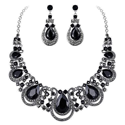BriLove Costume Fashion Jewelry Set for Women Crystal Teardrop Hollow Scroll Statement Necklace Dangle Earrings Set Black Silver-Tone