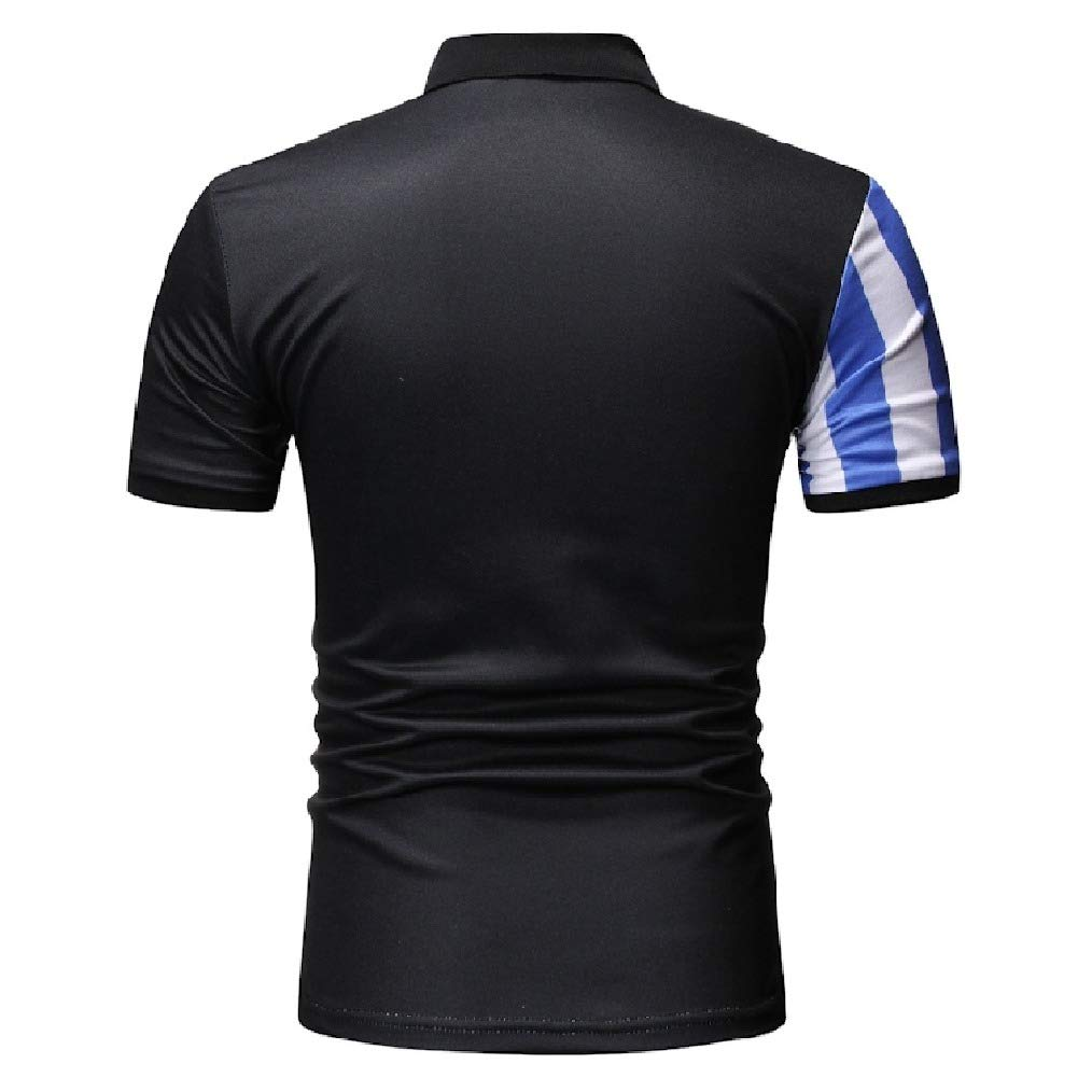 Vska Men Polo Shirt Contrast Color Silm Fit Stripes Printed Bussiness Tees