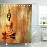 TOMPOP Shower Curtain Budha Buddha in Lotus Position Grunge Orange Gold Painting Style Meditation Budhist Old Waterproof Polyester Fabric 72 x 72 inches Set with Hooks