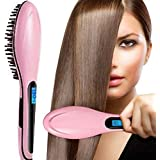 Hair Straightener,Emontek® Straighter Comb,Electric Hot Hair Brush LCD Ion Brush Auto Straight Tool,Anti-Scald Massager,Electric Comb Hair Straightening Irons (Pink)
