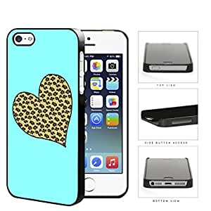 Leopard Print Heart Shape With Aqua Background Hard Plastic Snap On Cell Phone Case Apple iPhone 5 5s