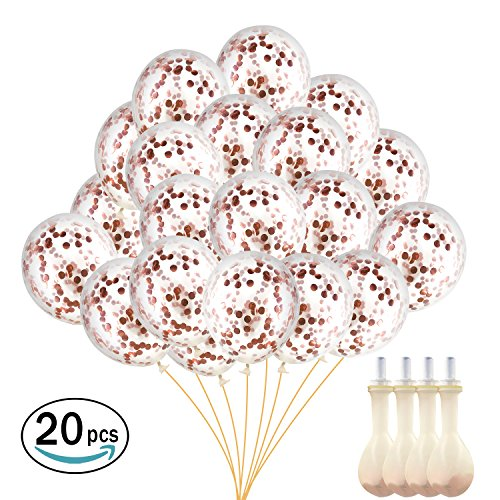 MAISON & ARTS Rose Gold Confetti Balloons 20 Pack, 12 inch with Pre-Filled Confetti and Mouth Piece. Great for Party Decorations, Wedding, Birthday, Bridal & Baby Shower