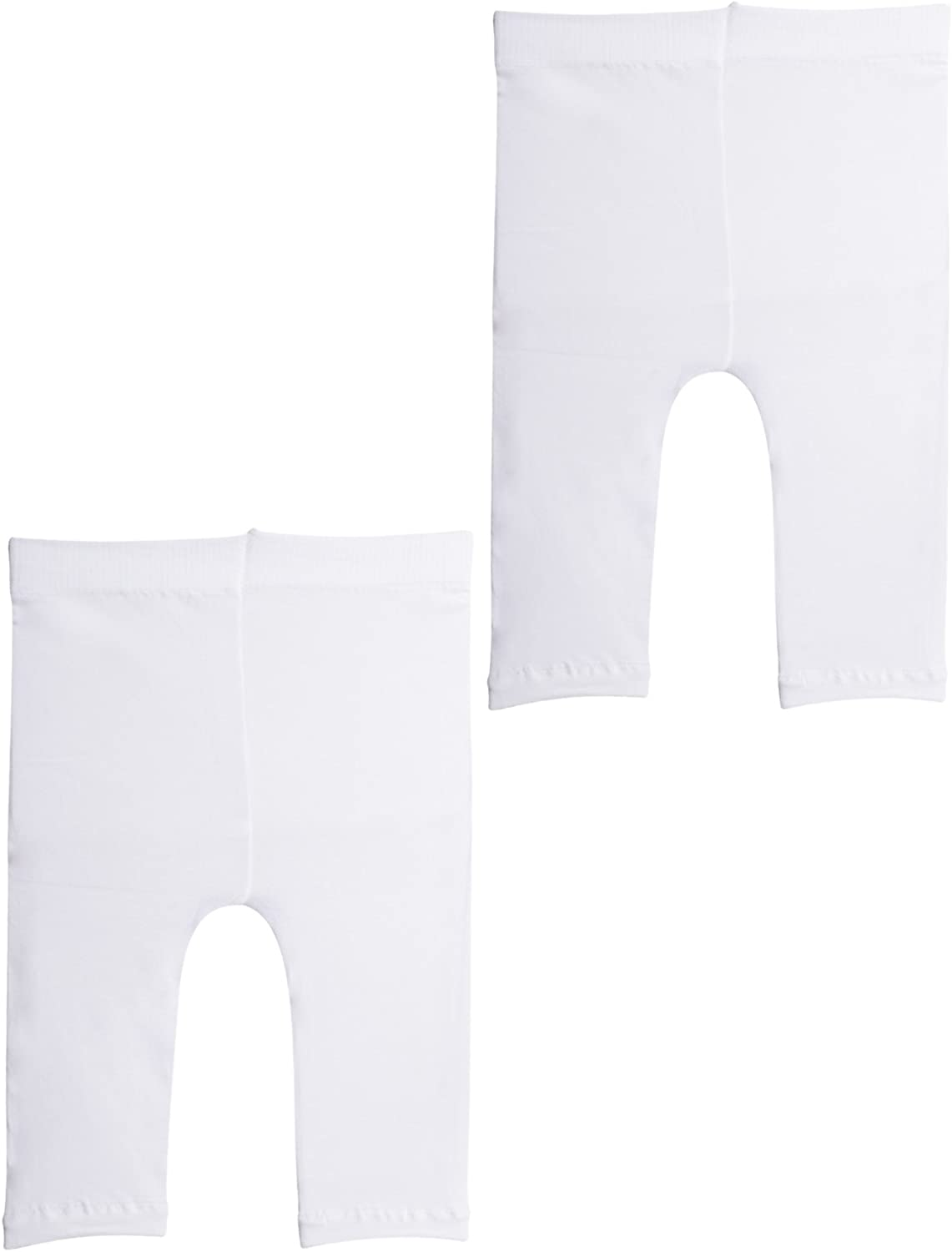 2 Pairs SEMI Opaque Cropped Leggins 12 Months, 2 Pairs White Black,White 50 DEN Italian Hosiery | Baby Footless Thights