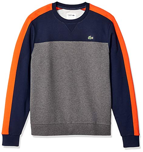 Lacoste Men's Sport Long Sleeve Color Blocked Fleece Crewneck, Navy Blue/Pitch/Mexico red, Medium