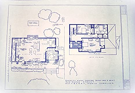 The andy griffith tv show house home 322 maple street mayberry the andy griffith tv show house home 322 maple street mayberry north carolina full size blueprints 24 x 36 at amazons entertainment collectibles store malvernweather Images
