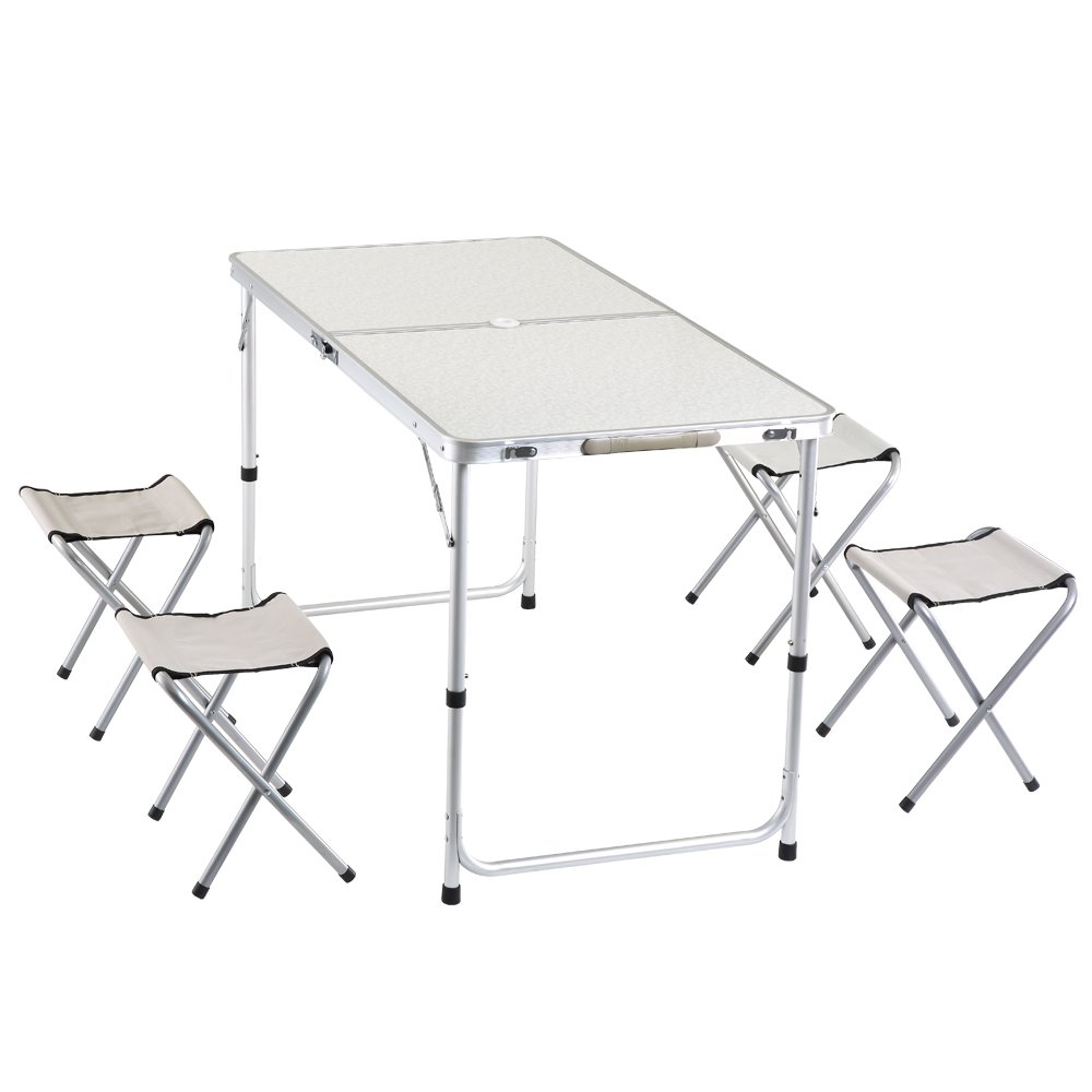 yiren Camping Outdoor Lightweight Folding Picnic Table with 4 Stools