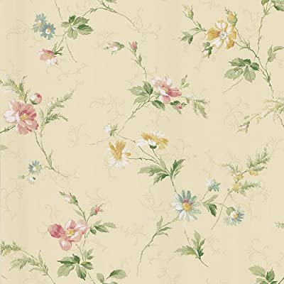 Brewster KD71303 Fairwinds Studios English Style Floral Scroll Wallpaper, 20.5-Inch by 396-Inch, Yellow