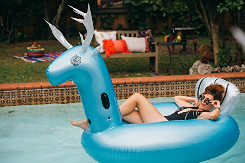 Unique Blue Reindeer Pool Float, Fits 2 Adults 55x47x108 Plus 2 Cup Holders, Non Toxin Inflatable Lounger With A Touchscreen Waterproof Phone Case (Vinyl Recycled Pouch)