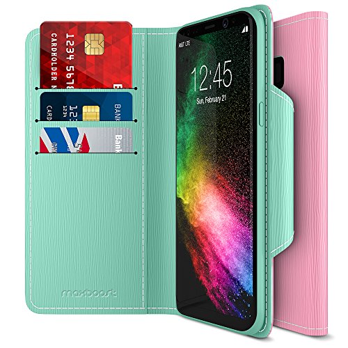 Maxboost Galaxy S8 Wallet Case [Folio Style] [Stand Feature] Premium Samsung Galaxy S8 Card Case [Pink/Green] Protective PU Leather Flip Cover with Card Slot + Side Pocket Magnetic Closure