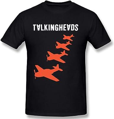Men's Novelty Shirts Fashion Talking Heads Planes Graphic Printed Casual Short Sleeve T-Shirt Black