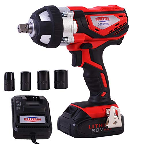 Dobetter Cordless Impact Wrench 1/2 Inch High Torque Compact Electric Driver Tool Kit 20V Portable Lithium-Ion Impact Wrench -DBCIW20(Black&Red)